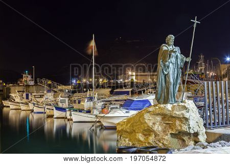 Monument at the old fishing port in the city of Cartagena. Murcia province Spain