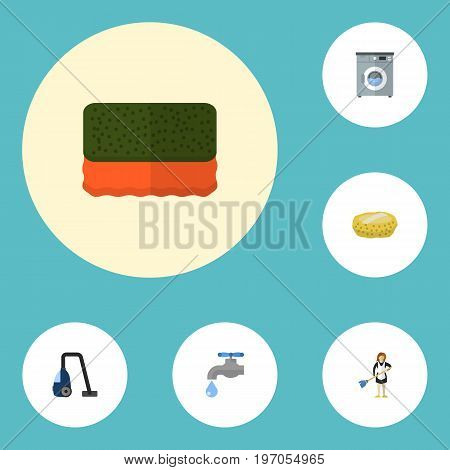 Flat Icons Faucet, Wisp, Sweeper And Other Vector Elements