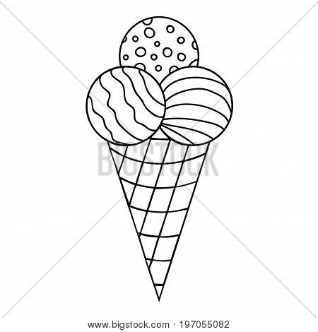 Black thin line doodle ice cream with three balls in the waffle cup. Vector illustration.