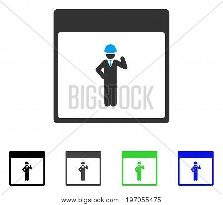 Engineer Calendar Page flat vector pictogram. Colored engineer calendar page gray, black, blue, green pictogram variants. Flat icon style for web design.