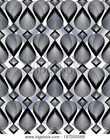 Continuous vector pattern with graphic lines decorative abstract background with overlay shapes. Grayscale ornamental seamless transparent backdrop can be used for design and textile.