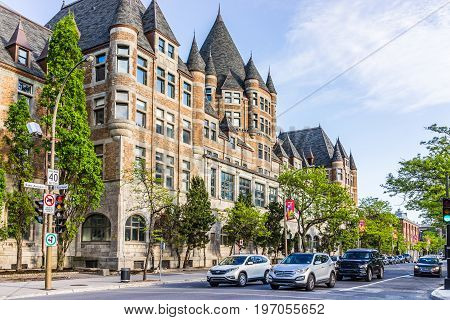 Montreal, Canada - May 27, 2017: Front Exterior View Of Gare Viger In Quebec Region During Sunny Sum