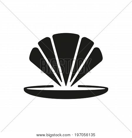 Icon of opened mollusk. Sealife, seafood, souvenir. Allergy concept. Can be used for topics like vacation, summer, cuisine
