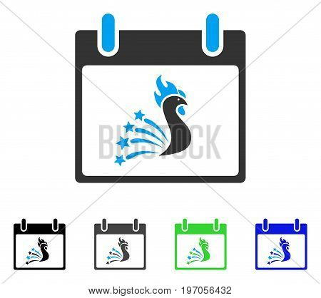 Festive Rooster Calendar Day flat vector pictogram. Colored festive rooster calendar day gray, black, blue, green pictogram variants. Flat icon style for graphic design.