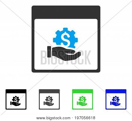 Financial Development Hand Calendar Page flat vector illustration. Colored financial development hand calendar page gray, black, blue, green pictogram variants. Flat icon style for graphic design.