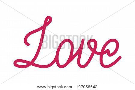 Love red lettering. Passionate word, special relationship, inspiring design. Flat style vector illustration isolated on white background