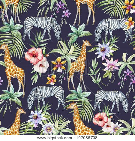 Beautiful seamless vector pattern with tropical flowers and wild zebra and giraffe