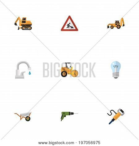 Set Of Industry Flat Icons Symbols Also Includes Steamroller, Light, Caution Objects.  Flat Icons Pneumatic, Faucet, Handcart Vector Elements.