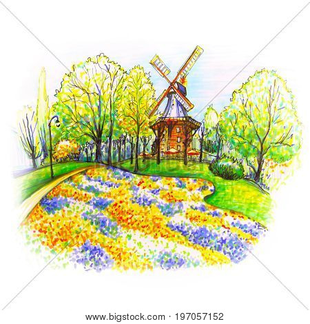 Popular city park Wallanlagen with Am Wall Windmill and colorful flowers foreground in Bremen, Germany. Hand drawn picture made markers and liner