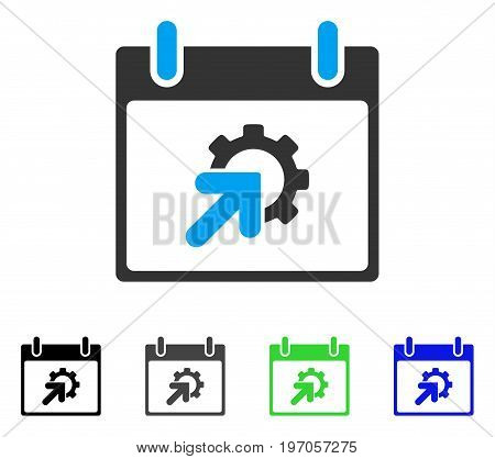 Gear Integration Calendar Day flat vector icon. Colored gear integration calendar day gray, black, blue, green pictogram variants. Flat icon style for web design.