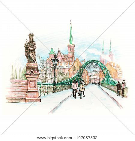 Cathedral Island or Ostrow Tumski with bridge, Cathedral of St. John and church of the Holy Cross and St. Bartholomew in Wroclaw, Poland. Hand drawn picture made markers and liner