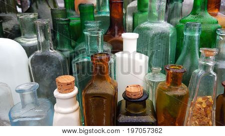 concept very old dusty bottles. stock image