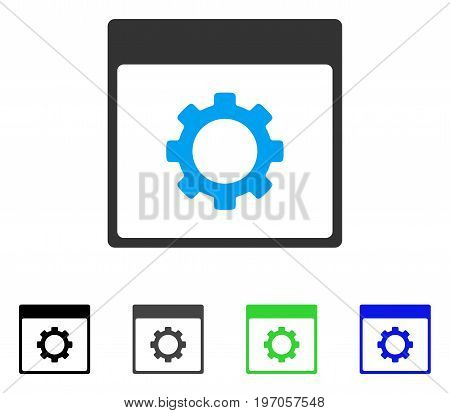 Gear Options Calendar Page flat vector pictogram. Colored gear options calendar page gray, black, blue, green pictogram versions. Flat icon style for graphic design.
