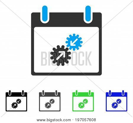 Gears Integration Calendar Day flat vector pictogram. Colored gears integration calendar day gray, black, blue, green pictogram variants. Flat icon style for application design.