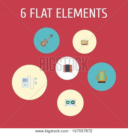 Flat Icons Tape, Mp3 Player, Acoustic And Other Vector Elements