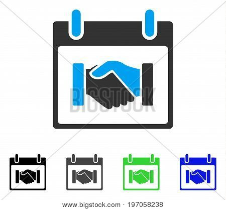 Handshake Calendar Day flat vector pictograph. Colored handshake calendar day gray, black, blue, green pictogram versions. Flat icon style for graphic design.