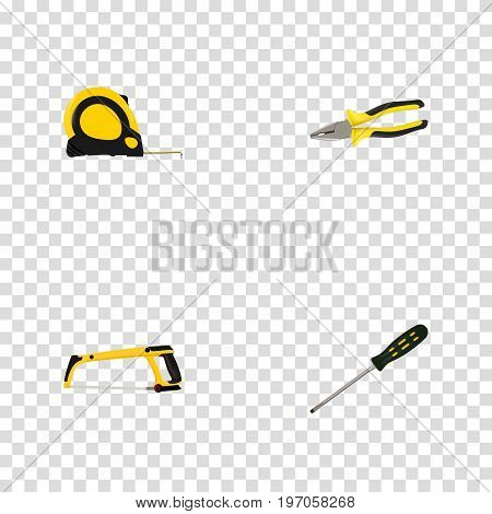 Realistic Pliers, Carpenter, Length Roulette And Other Vector Elements