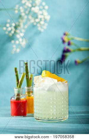 Summer Vodka Sour - Cocktail with Vodka, Sugar Syrup, Lemon Juice and Egg White