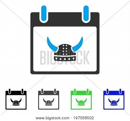 Horned Helmet Calendar Day flat vector pictograph. Colored horned helmet calendar day gray, black, blue, green icon versions. Flat icon style for graphic design.