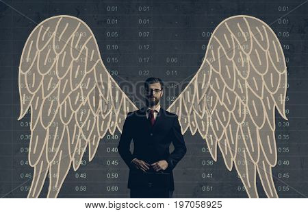 Business angel standing over diagram background. Business, investment, sponsoring concept.