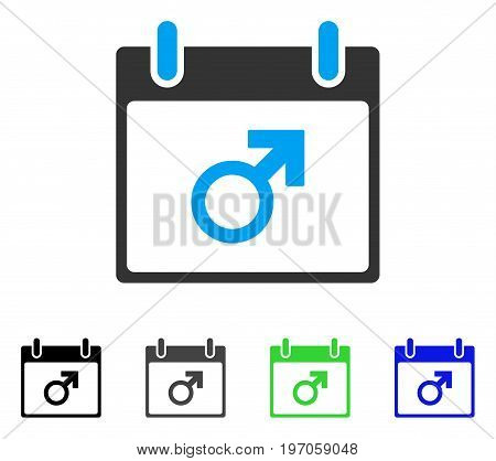 Mars Male Symbol Calendar Day flat vector illustration. Colored mars male symbol calendar day gray, black, blue, green pictogram versions. Flat icon style for web design.