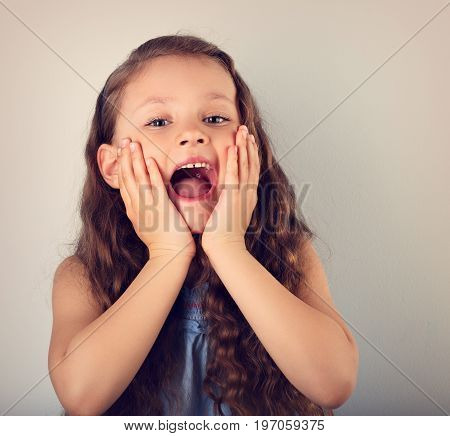 Excited Surprising Kid Girl With Wide Open Mouth And Big Eyes Looking On Empty Copy Space. Toned Vin