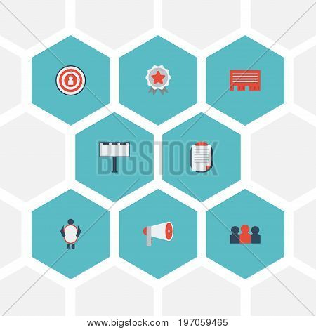 Flat Icons Man With Banner, Customer Summary, Auditorium And Other Vector Elements