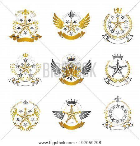 Military Stars emblems set. Heraldic vector design elements collection. Retro style label heraldry logo.