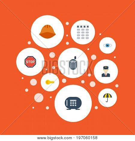 Flat Icons Keypad, Clue, Road Sign And Other Vector Elements