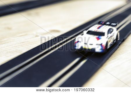 Pendle slot racing - blurry toy car