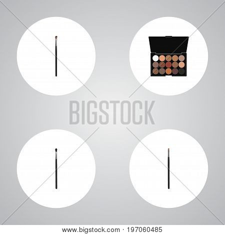 Realistic Eye Paintbrush, Multicolored Palette, Make-Up Product And Other Vector Elements