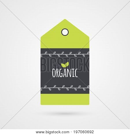 Organic label. Food icon. Vector green white and gray shopping tag sign isolated. Illustration symbol for product packaging healthy eating lifestyle project advertisement shop menu logo