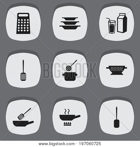 Set Of 9 Editable Cooking Icons. Includes Symbols Such As Skimmer, Lactose, Drainer And More