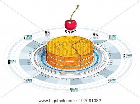Creative infographics elements piece of pie idea vector illustration.