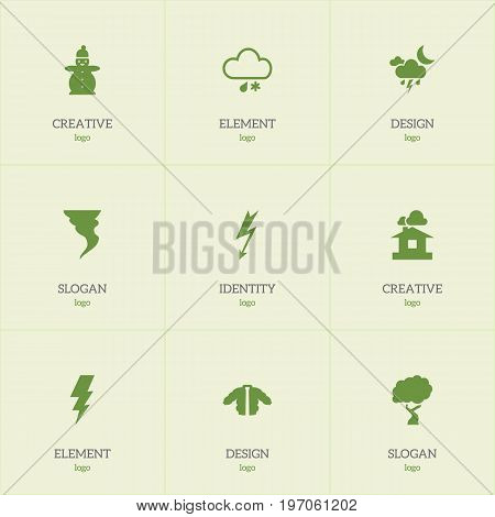 Set Of 9 Editable Climate Icons. Includes Symbols Such As Rainstorm, Flash, Current Shock And More