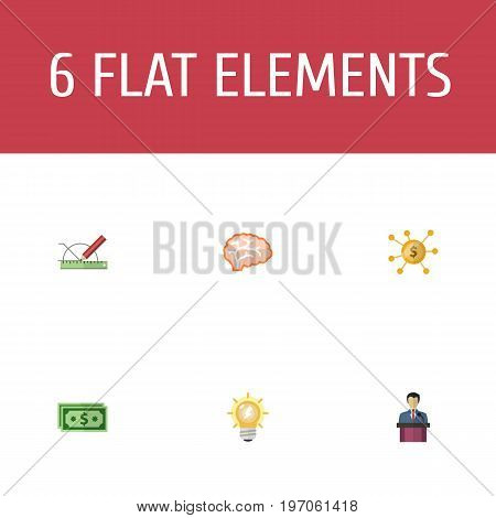 Flat Icons Design, Financing, Cash And Other Vector Elements