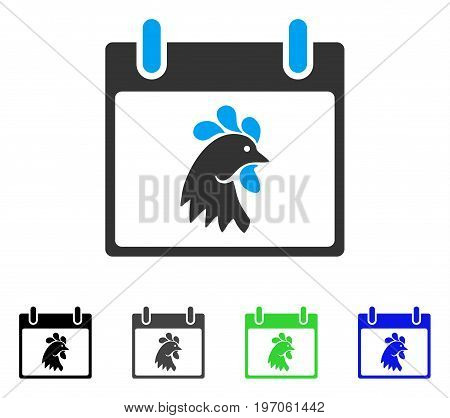 Rooster Head Calendar Day flat vector icon. Colored rooster head calendar day gray, black, blue, green icon versions. Flat icon style for application design.