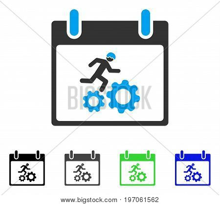 Running Worker Calendar Day flat vector icon. Colored running worker calendar day gray, black, blue, green icon variants. Flat icon style for graphic design.