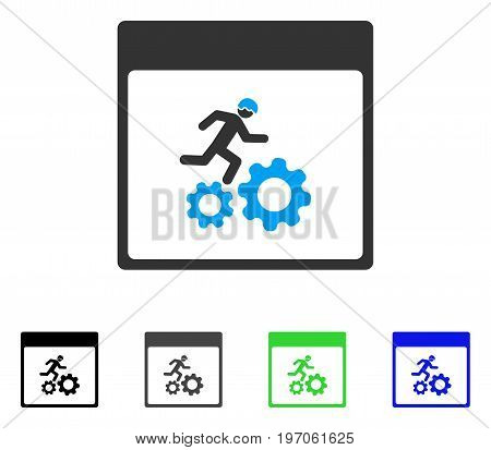Running Worker Calendar Page flat vector illustration. Colored running worker calendar page gray, black, blue, green pictogram versions. Flat icon style for graphic design.