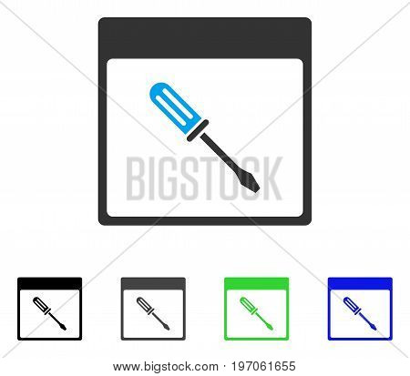 Screwdriver Calendar Page flat vector icon. Colored screwdriver calendar page gray, black, blue, green icon versions. Flat icon style for web design.