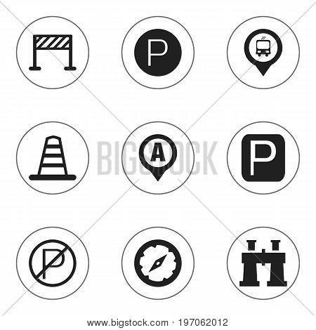 Set Of 9 Editable Location Icons. Includes Symbols Such As Road Sign, Marker, Street Construction And More