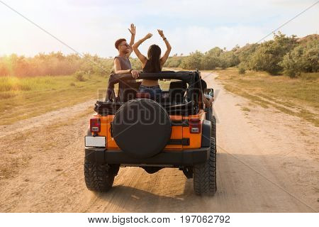 Back view of young friends standing in a car with hands raised