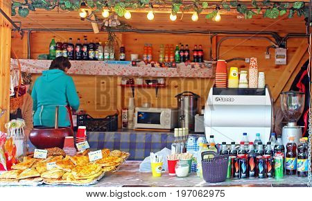 KYIV, UKRAINE -MAY 01, 2017: Food cout on sale of meal and drink located in Fan Zone of the international Eurovision Song Contest 2017 near Sofia square
