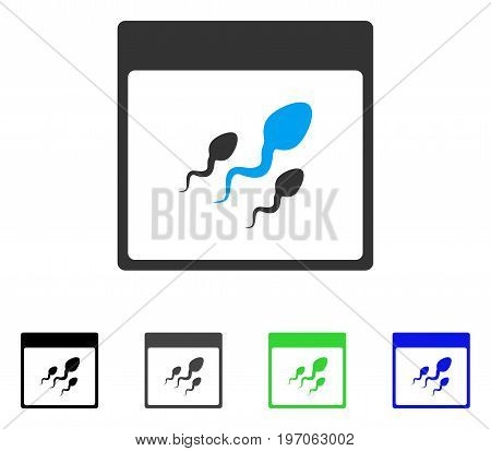 Spermatozoids Calendar Page flat vector pictogram. Colored spermatozoids calendar page gray, black, blue, green pictogram versions. Flat icon style for graphic design.