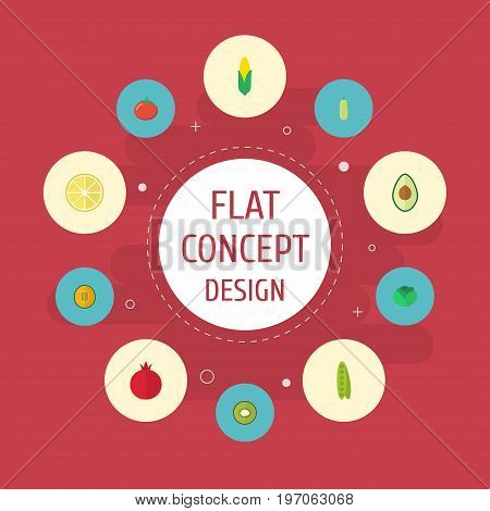 Flat Icons Maize, Muskmelon, Love Apple And Other Vector Elements