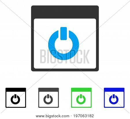 Switch On Calendar Page flat vector icon. Colored switch on calendar page gray, black, blue, green pictogram versions. Flat icon style for web design.