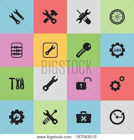 Set Of 16 Editable Repair Icons. Includes Symbols Such As Mechanic Cogs, Maintenance, Wrench Repair And More