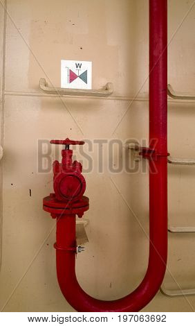 Manual Shut-off Valve Of The Outlet Pipe Of The Water Supply Line Of The Fire-fighting System