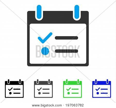 Todo List Calendar Day flat vector pictogram. Colored todo list calendar day gray, black, blue, green icon versions. Flat icon style for web design.
