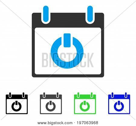 Turn On Calendar Day flat vector illustration. Colored turn on calendar day gray, black, blue, green icon versions. Flat icon style for application design.
